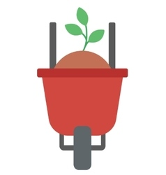 Wheelbarrow with sand and sprout vector image