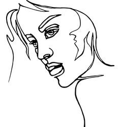 woman profile continuous line drawing vector image vector image