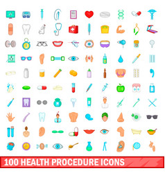 100 health procedure icons set cartoon style vector