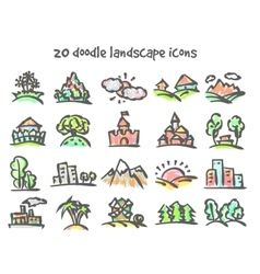 doodle landscape icons vector image