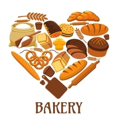 Bakery heart sign of bread pastry dessets vector