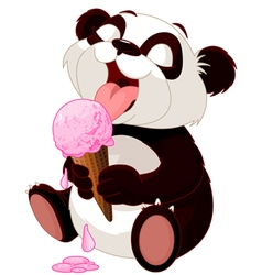 Panda eating ice cream vector