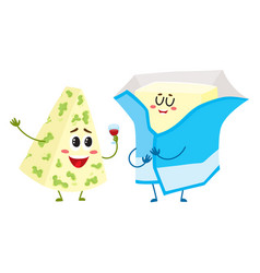 Funny blue cheese and cream butter characters vector