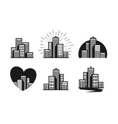 Modern city logo skyscraper building house vector