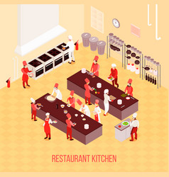 restaurant kitchen isometric composition vector image