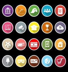 General online flat icons with long shadow vector
