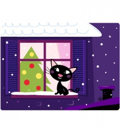 Xmas cat look through window vector