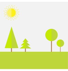 Green round and spruce tree landscape set flat vector