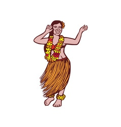 Polynesian dancer grass skirt linocut vector