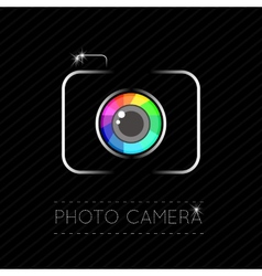 Single flat photo camera icon vector