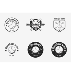 Set of vintage black and white baseball vector