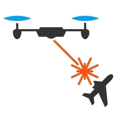 Laser drone attacks airplane icon vector