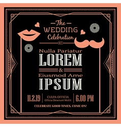 Vintage wedding invitation border and frame vector
