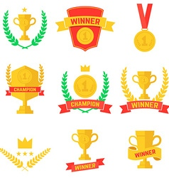 Set of winner champion labels and badges vector