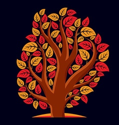 Artistic of autumn branchy tree with red leaves s vector