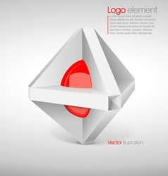 Abstract big logo in 3d with a red circle vector image