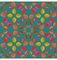 Geometric pattern with autumn leaves vector