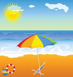 Beach beauty with umbrella vector