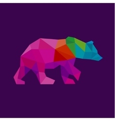 Bear color polygon rainbow in low poly style vector
