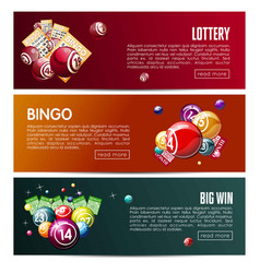 Bingo lottery online lotto game web banners vector