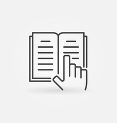 book and hand icon vector image vector image
