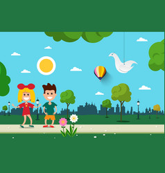 Boy and girl in city park flat design scene vector