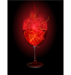 burning wine glass vector image vector image