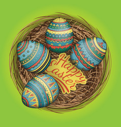 Colorful happy easter eggs set in nest vector