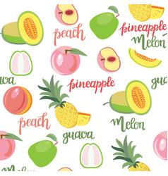 Fruits peach guava melon pineapple seamless vector