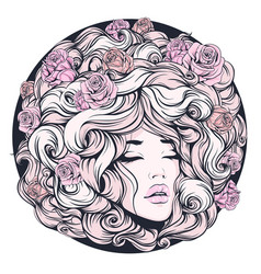 girl eyes closed long curly hair pink color with vector image vector image