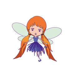 Girly fairy with wings and redhead with pigtails vector