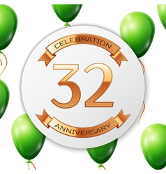 Golden number thirty two years anniversary vector