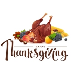 Happy thanksgiving lettering text rich harvest of vector