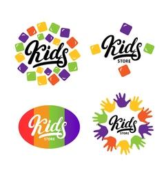 Kids hand written lettering logo label bage emblem vector image vector image