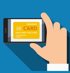 Mobile payments from credit card flat design vector