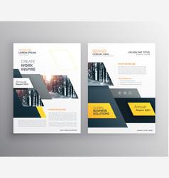 Modern yellow brochures set for business vector
