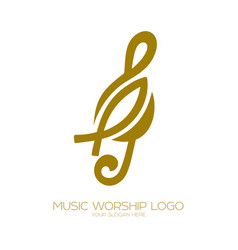 Music logo christian symbol treble clef and fish vector