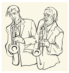 Musicans of jazz sketches vector