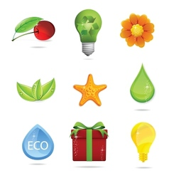 nature and eco symbols big set vector image