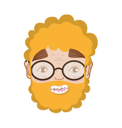 Nice man face with beard and glasses vector