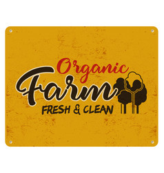 Organic farm eco food poster fresh and clean vector