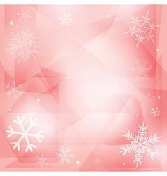 Rosy christmas background with white snowflakes vector