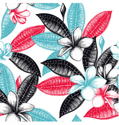 seamless pattern with exotic plants vector image vector image