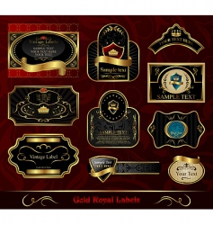 Set black gold framed label vector