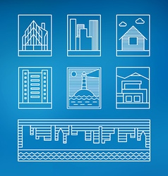 Set of line art of buildings thin line graphic vector