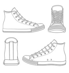 Set with sneakers gumshoes vector