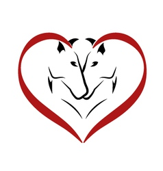 Stylized horses in love logo vector image