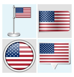 USA flag - sticker button label and flagstaff vector image