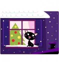 xmas cat look through window vector image vector image
