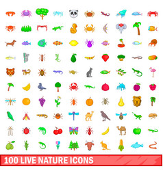 100 live nature icons set cartoon style vector